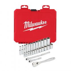 """Milwaukee sada 1/4"""" nástrčných kľúčov s račňou 28ks"""