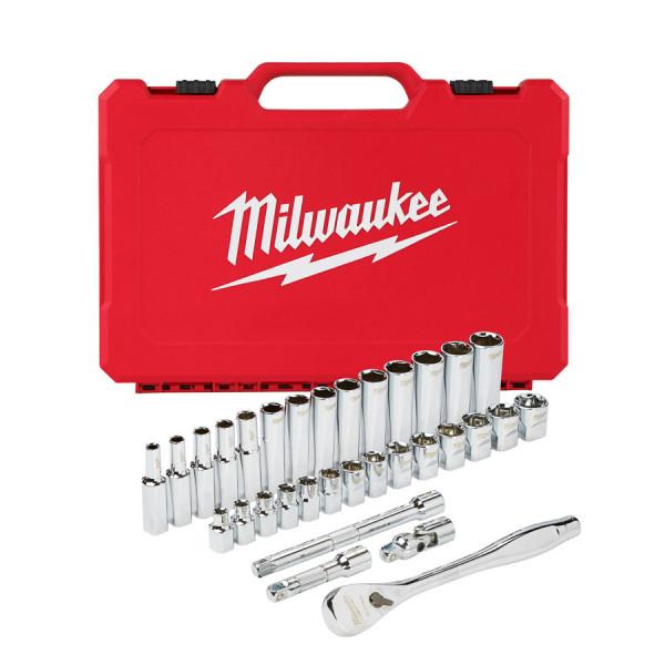 """Milwaukee sada 3/8"""" metrických nástrčných kľúčov s račňou (32ks)"""