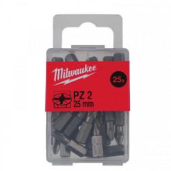 Milwaukee skrutkovací bit PZ 2 25 mm (25 ks)