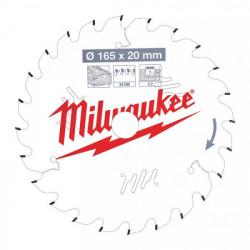 Milwaukee pílový kotúč na drevo 165 x 20 x 2.2 mm 24z ATB