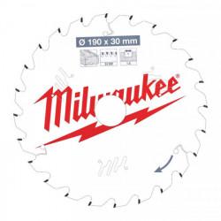 Milwaukee pílový kotúč na drevo 190 x 30 x 1.6 mm 24z ATB