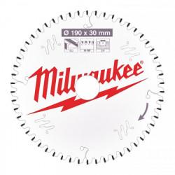 Milwaukee pílový kotúč na ALU/PVC 190 x 30 x 2.4 mm 54z TF NEG.
