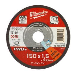 Milwaukee rezný kotúč na tenký kov PRO+ 150 x 1,5 mm