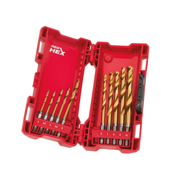 Milwaukee sada vrtákov do kovu HSS-G TiN RED HEX 10ks